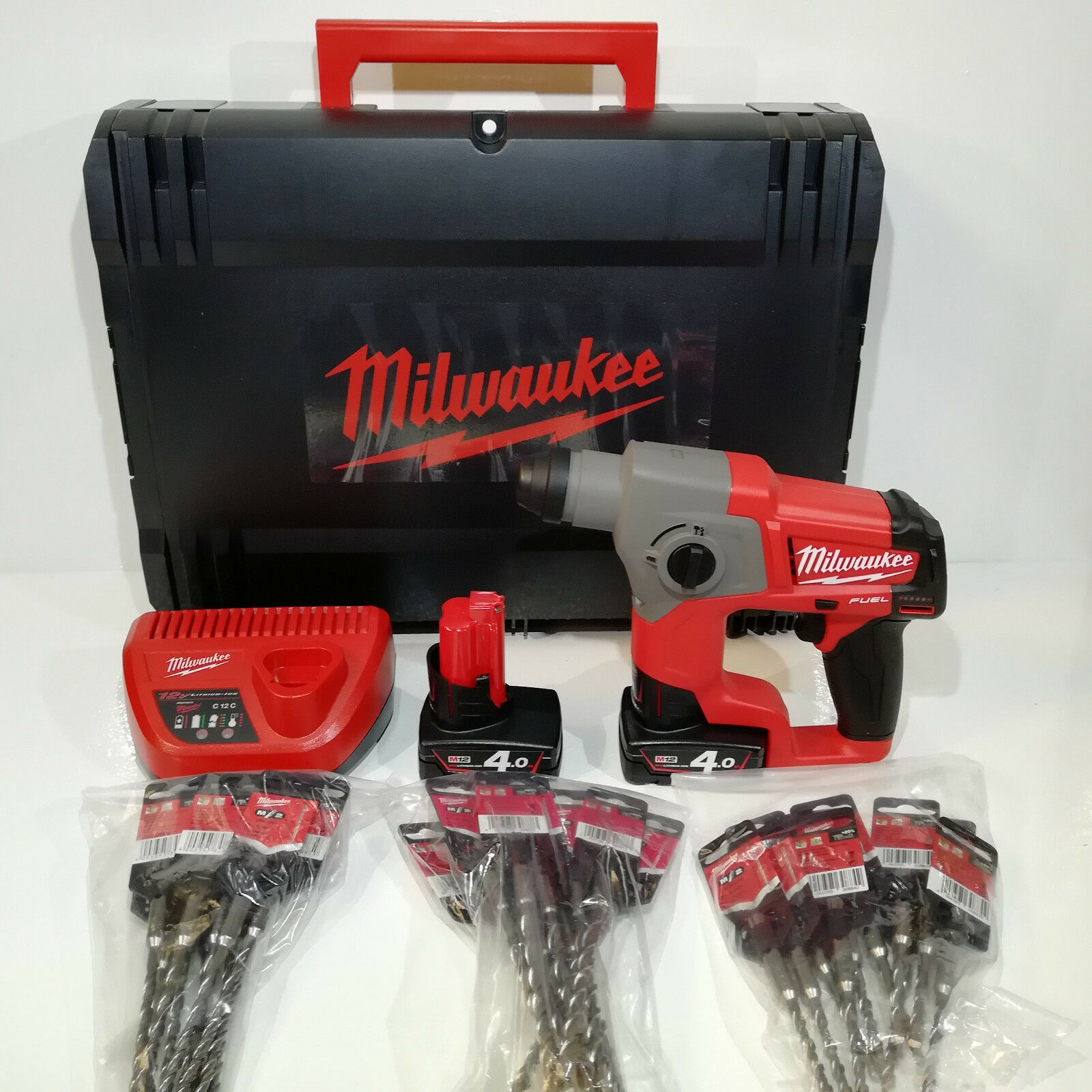 Milwaukee SDS-Plus Paket M12 CH-402X Akku-Bohrhammer + 30x SDS-Plus Hammerbohrer