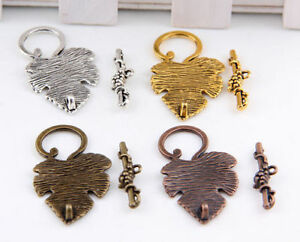 8-20Sets-Tibetan-Silver-Gold-Copper-Bronze-Leaf-Toggle-Clasps-37x24mm