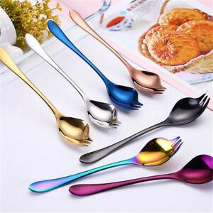 Stainless-Steel-Spoon-Fork-2-In-1-Spork-Soup-Salad-Noodle-Cutlery-Kitchen-LA