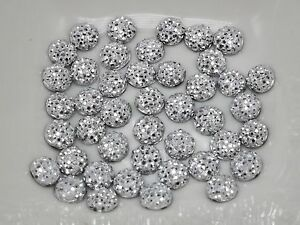 500-Silver-Round-Flatback-Resin-Dotted-Rhinestone-Gem-beads-6mm