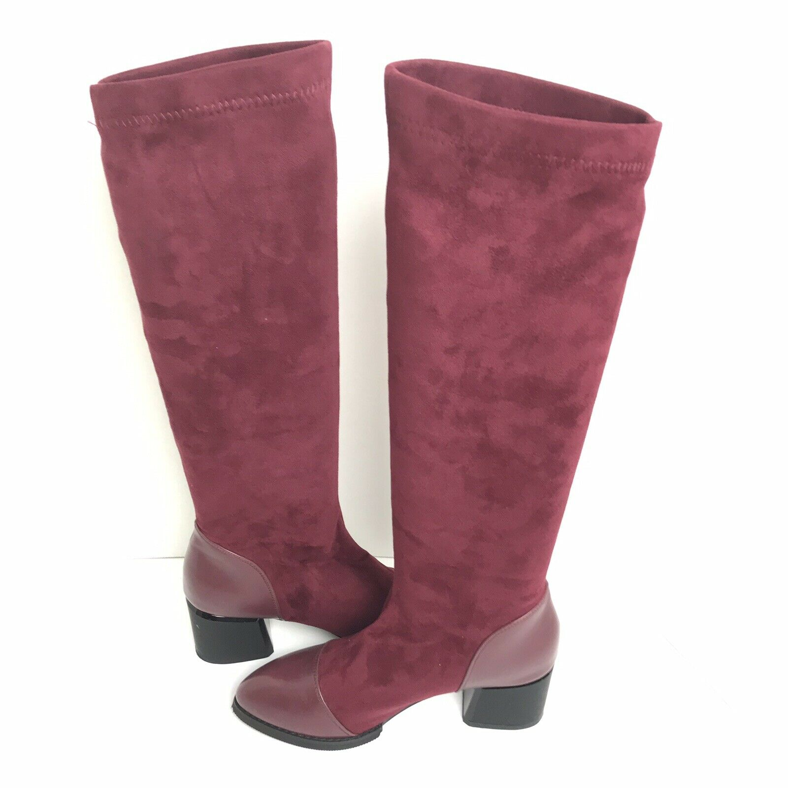 Boots Faux Suede Leather Tall Stretch Dress Magenta Boots  115MSRP NWOB 37