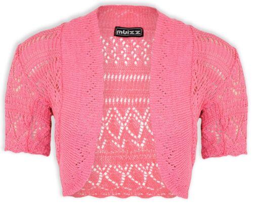 Ragazze Crochet BOLERO COPRISPALLE KIDS MAGLIA MANICA CORTA Cardigan nuova età 2-6 anni