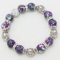 Amethyst & Green Glass Beads + Intricate Silvertone Beads Stretch Bracelet 10-e