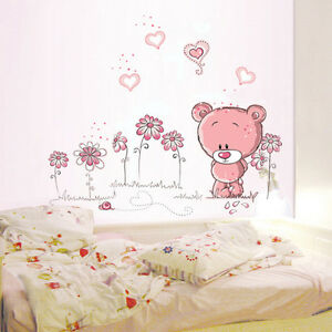 Removable-Pink-bear-Wall-Sticker-home-docor-girl-nursery-room-baby-wallpaper