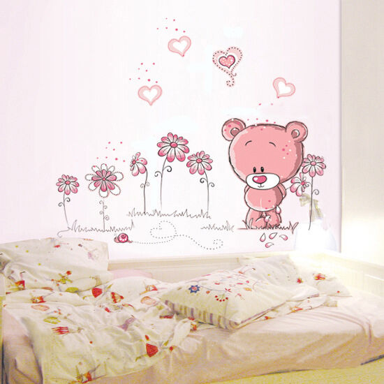 Removable Pink bear Wall Sticker home docor girl nursery room baby wallpaper