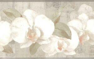Wallpaper-Border-Watercolor-Orchids-On-Grey-Green-Faux