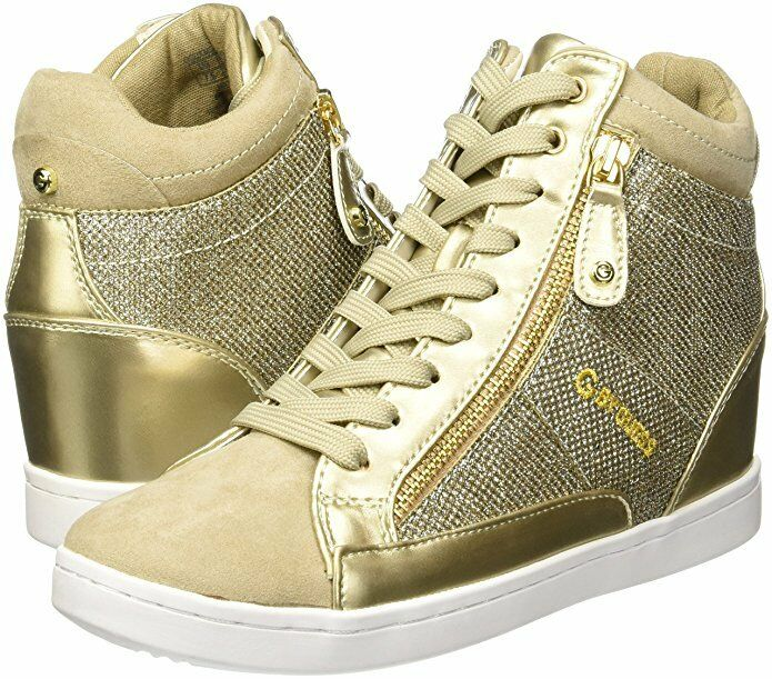 G by GUESS Women's Damsel Wedge gold Multi Fabric Sneakers