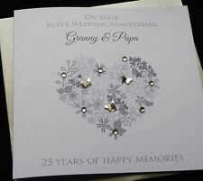 Personalised Handmade Silver /25th Wedding Anniversary Heart Card