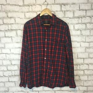 Gap-Men-039-s-Classic-Red-amp-Blue-Plaid-Longsleeve-Button-Front-Shirt-XL-Extra-Large