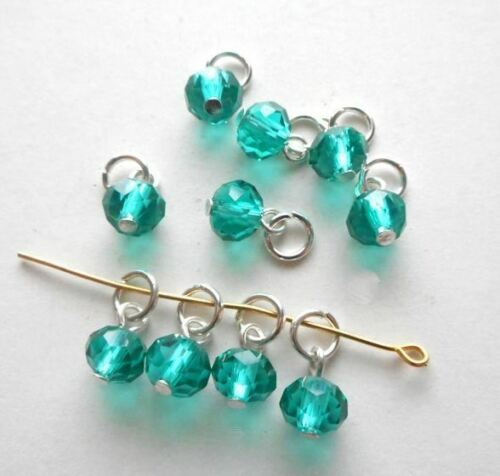 20pcs-Hand made charm-1 loop faceted Emerald Green CZ glass beads with jump ring