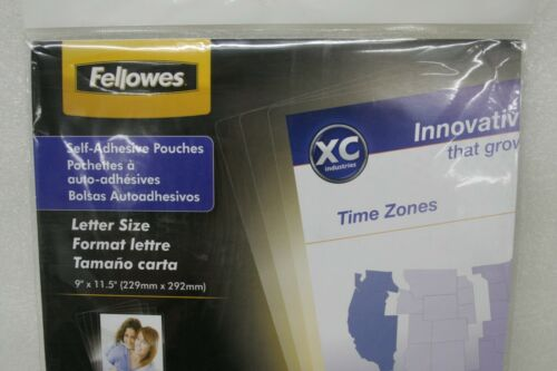 """FELLOWES CRC52205 LAMINATING POUCHES 9/"""" x 12/""""  SELF ADHESIVE 10 SHEETS 5 MIL"""