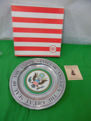 Wilton Armetale Great Seal The United States America Pewter Enamel Plate w Box