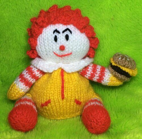 Ronald McDonald inspired choc orange cover// 14 cms Clown toy KNITTING PATTERN