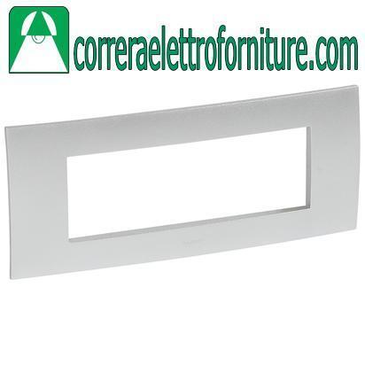 LEGRAND VELA placca quadra 6 moduli silver metallizzato 685748