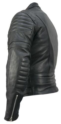Leather Retro-Motorrad-Lederjacke-80-´s Herren oldschool wm Fashion Lederjacke
