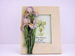 Lot-of-2-4x6-Picture-Frame-Floral-Flowers-Purple-Orchids-Margarita-039-s-Design