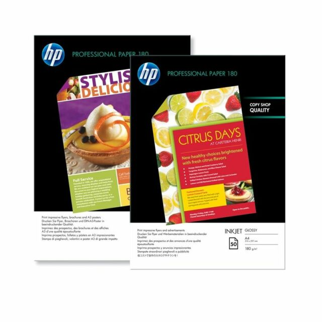 HP A4 PROFESSIONAL INKJET PHOTO PAPER GLOSS / GLOSSY 180GSM - 50 SHEETS (C6818A)