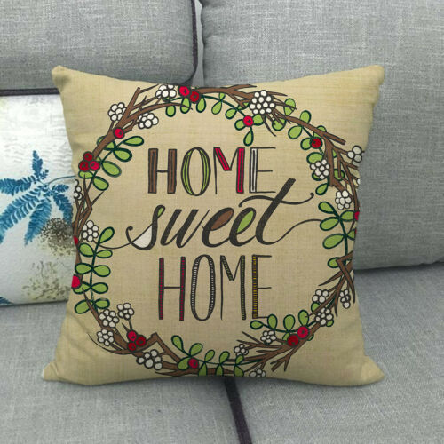Olive Wreath Home Sweet Home Throw Pillow Case Sofa Couch Square Cushion Covers