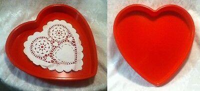 "14"" Valentine Love Red Plastic Heart Serve Display Tray Mold Platter 9"" Doily"