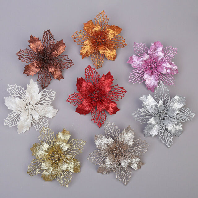10X Glitter Poinsettia Hollow Flower Christmas Wreath Tree Decoration Xmas Gift