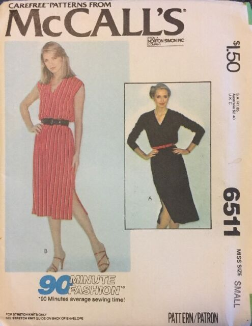 Mccall\'s 6511 Vintage Sewing Pattern Small 90 Minute Stretch Knit ...