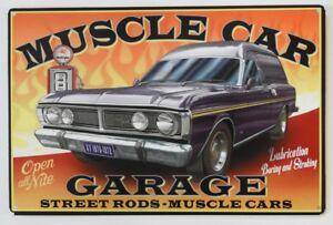 AUSTRALIAN-MUSCLE-CAR-GARAGE-FORD-XY1970-1972-OPEN-24-HRS-Metal-tin-Sign