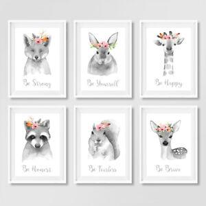 Gris-neutre-Floral-Boho-Nurserie-animale-CITE-Empreintes-Enfants-Chambre-a-coucher-photos