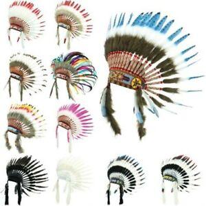 cee0aa3d04533 La imagen se está cargando Penacho-Indio-Jefe-Plumas-Sombrero-Indio- Americano-Gringo-