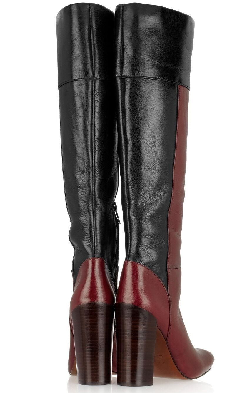 New Tory Burch  Alicia colorblock Leather Leather Leather Knee-High Tall Boot Bordeaux Navy 6.5 2036d6