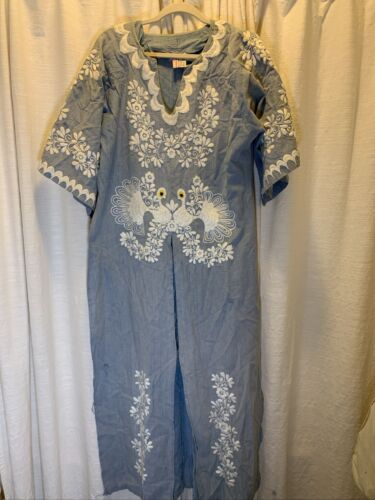 vintage oaxacan dress denim embroidered Peacock Em
