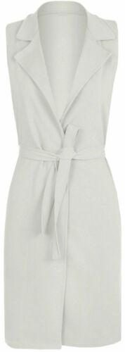 New Womens Celeb Sleeveless Belted Crepe Open Long Waistcoat Top Ladies Jacket