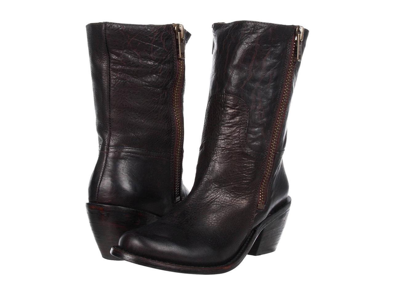 spedizione e scambi gratuiti. DV Dolce Vita Evelyne avvio avvio avvio nero Distressed Leather Mid Calf Side Zipper Marrone  esclusivo
