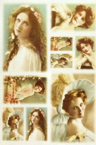 Papel De Arroz Para Decoupage scrapbooking hoja de fotografías antiguas chicas jóvenes