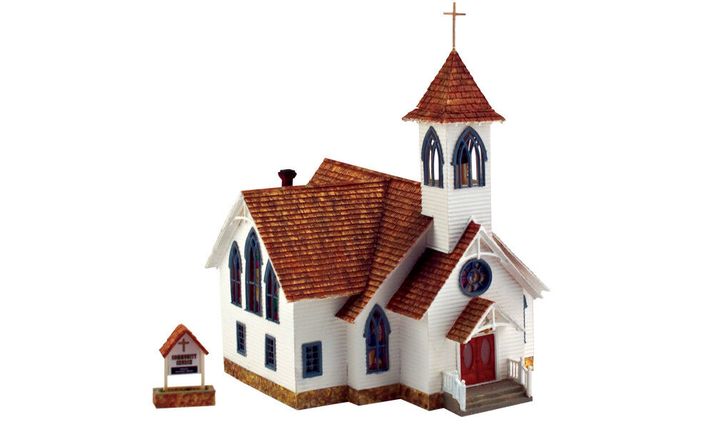 New Woodland HO Structure Built-&-Ready Community Church BR5041