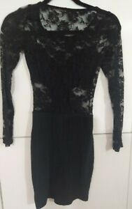 Supre-Womens-Bodycon-Dress-Black-With-Lace-Long-Sleeves-Size-XXS-Stretch