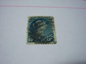CANADA-used-Scott#28-12 1/2 cent- blue - Queen Victoria -cv$120