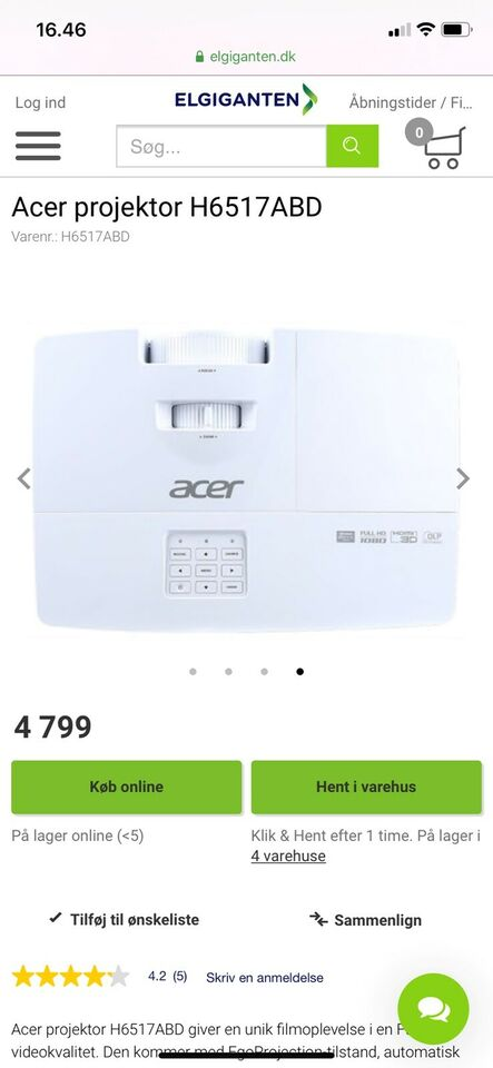 Projektor, Acer , H6517abd