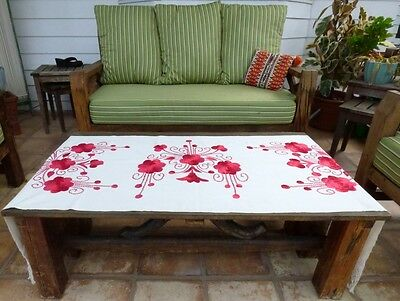 Silk Embroidered Heavy Linen Table Runner Floral Tassel Crochet Lace Cover Cloth