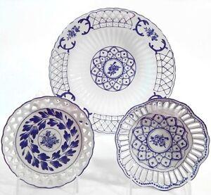 Michaels 3 Pc Blue White Pierced Ribbon Plates Wall Decor 53486909817 Ebay
