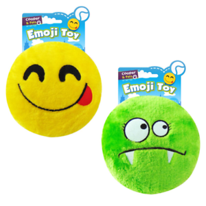 PLUSH-PET-DOG-THROWING-FETCH-EMOJI-EMOTICON-DISC-SQUEAKY-CHEW-TOY-SMILEY-MONSTER