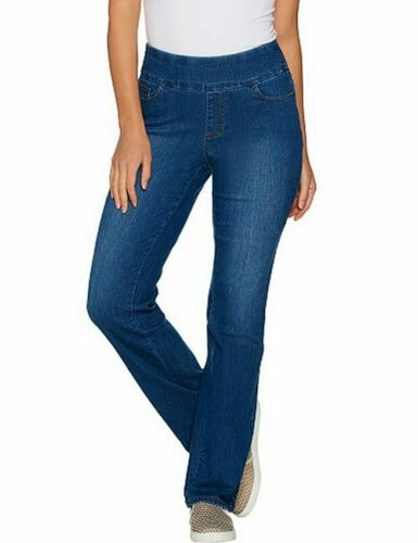 Denim /& Co Medium Indigo Denim Pull On Smooth Waist Bootcut Jeans