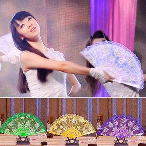 Am-Co-Au-Chinesisch-Spitze-Seide-Blume-Faltbar-Handfaecher-Tanz-Faecher