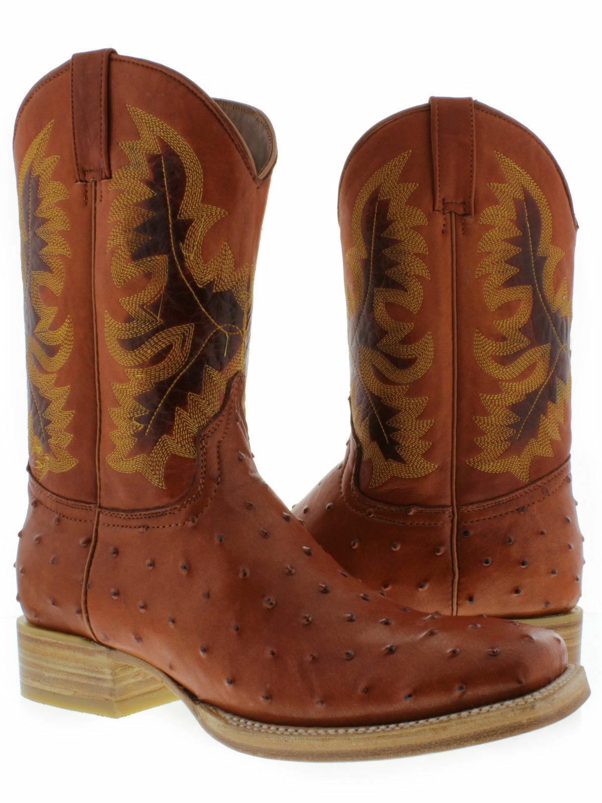 Para Hombre Cognac Marrón Cuero Occidental botas De Vaquero Rodeo De Avestruz