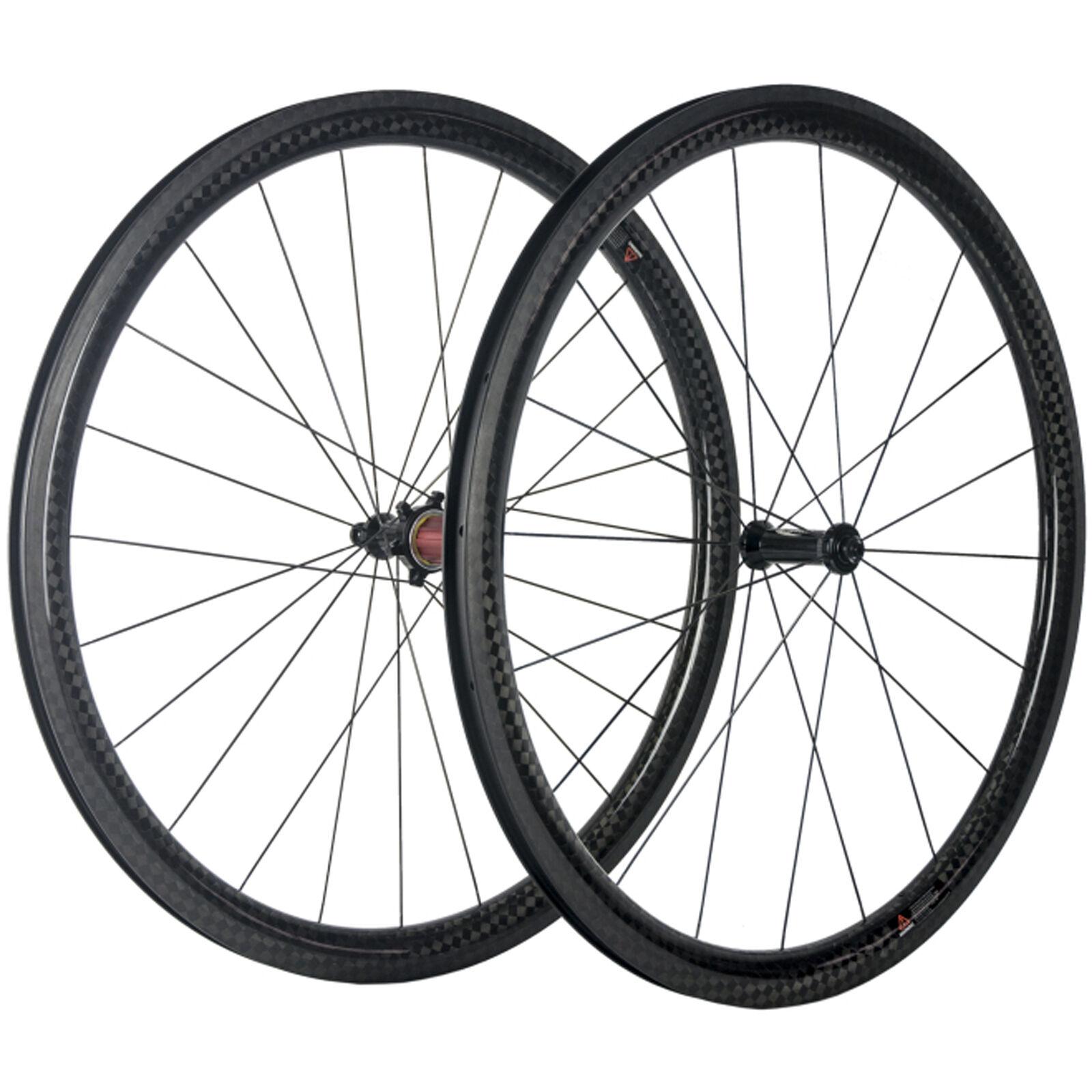 Carbon Clincher Wheels 12K 38mm Carbon Road Bike Wheelset Sapim R13 25mm Width