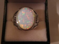 White Fire bird Opal mens ring 10 Sterling Silver 925 Bear Claws 925 Heavy 18g