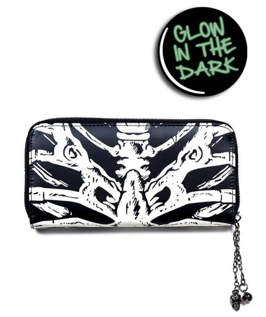 glow in the dark skeleton ribcage bones gothic wallet purse halloween horror emo
