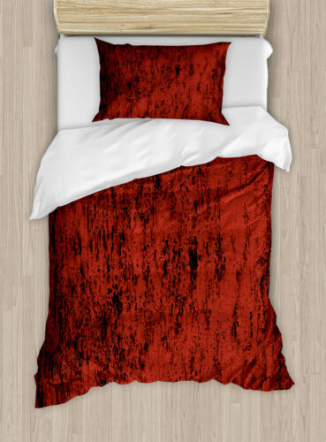 Red and Black Duvet Cover Set with Pillow Shams Grungy Abstract Print