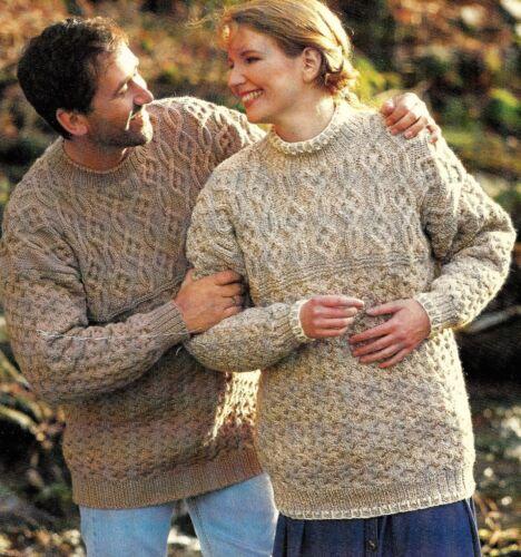 "#282 lady/'s hommes aran chandails 30-44/"" réel 40-52/"" vintage knitting pattern"