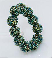 Kenneth Jay Lane Green Pave Ball Stretch Bracelet