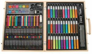 Darice 1103-10 ArtyFacts Portable Art Studio 131-Piece Deluxe Set With Wood Case